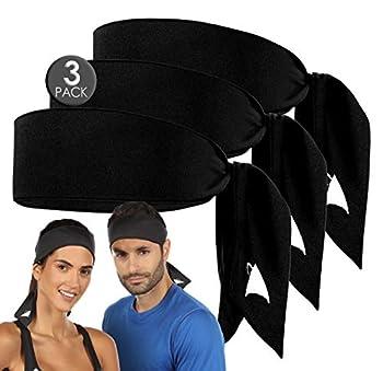 Athle Sport Headband - Head Tie Headbands - Sweatband for Men and Women - Running and Workout Headband - Black - 3 Pack