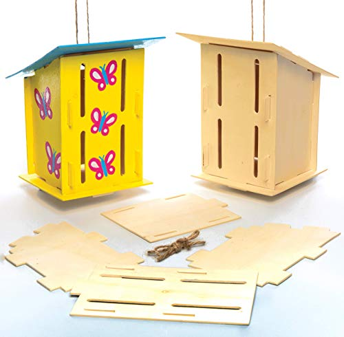 Baker Ross AC811 Wooden Butterfly Houses-Pack of 2, Habitats for Children to Make, Decorate and Personalise, Creative Craft Set for Kids and STEM Activities 17cm