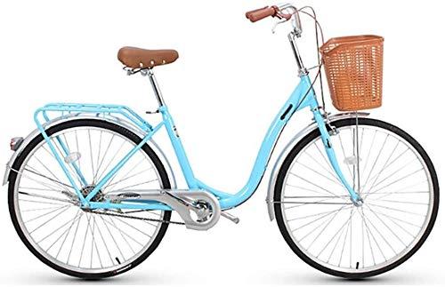 WOF Fahrrad Stadtauto Männer und Frauen Allgemeines Pendlerauto Fahrrad Weiblich 26 Zoll 6-Gang Freizeitrad Leichtes Erwachsenen-Stadtfahrrad mit Korb Pendler Damen Fahrrad (Color : Blue)