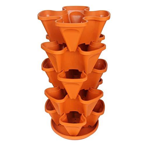 Fioriera a 5 ripiani impilabile, per piante di fragole, erbe, Fioriera impilabile per fioriera verticale multistrato a quattro petali in plastica con vassoio per fragole,orto,balcone,arancione