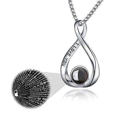 Ich liebe dich 100 Sprachen Halskette Sterling Silber Infinity Love Anhänger für Frauen Mädchen (100 Sprachen) (Ich liebe dich Halskette)