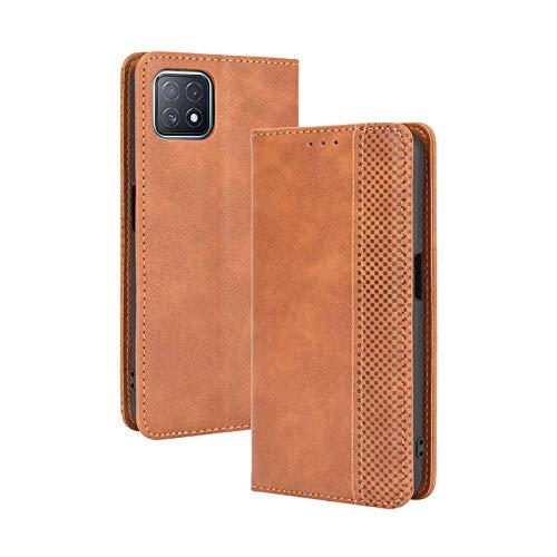 LEYAN Leder Folio Hülle für Oppo A73 5G, Lederhülle Brieftasche Mit Kartensteckplätzen, Premium Flip PU/TPU Handyhülle Schutzhülle Hülle Cover mit Ständer Funktion (Braun)