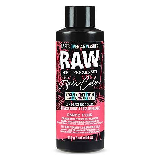 RAW Candy Pink Demi Permanent Hair Color, Vegan, Free from Ammonia, Paraben & PPD, lasts over 45 washes, 4oz