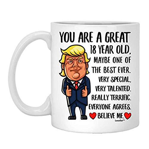 Feliz cumpleaños número 18 para niños, niñas que cumplen 18 años, nacido en 2001, taza de café blanca divertida de 11 oz