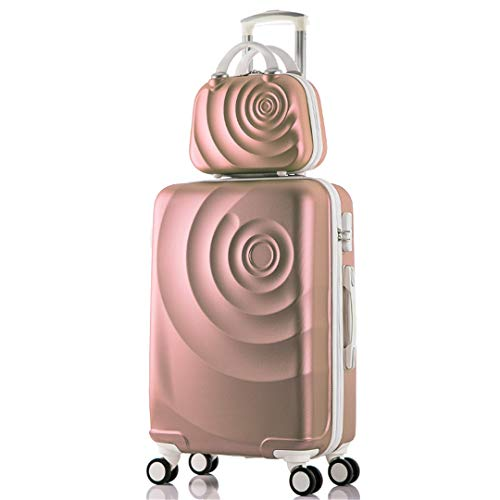 2Pcs/Set Suitcase Set with 14Inch Cosmetic Bag, Universal Wheel Trolley Case Travel Rolling Suitcase 20 Champagne