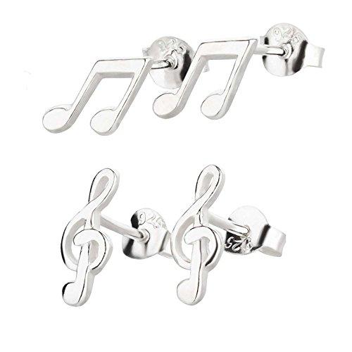 FIVE-D - Set di 2 orecchini a forma di chiave di violino e note musicali in argento 925 con custodia