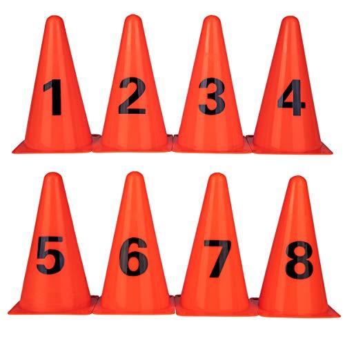 コーン ミニ カラーコーン マーカーコーン バスケットボールのフットボールの訓練のデジタル印のバケツの障害の道の円錐形のゲームの小道具 23cmデジ