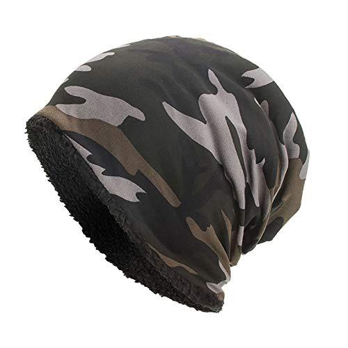 YWLINK Beanie MüTze Camouflage Woodland Mit Warmes Futter FüR Damen Herren MäDchen Jungen Hat Unisex One Size(Schwarz)