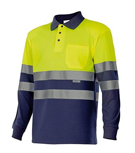 Velilla 175 - Polo de alta visibilidad, manga larga (talla L) color azul marino y amarillo fluorescente