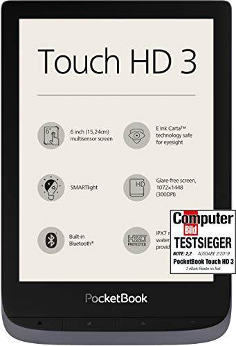 PocketBook Lector de eBook 'Touch HD 3' (16 GB Memoria; 15,24 Cm (6 Pulgadas) Pantalla de E Ink Carta; SmartLIGHT; Wi-Fi; Bluetooth) en Plata Gris