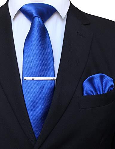 [ジェミギンズ]JEMYGINS 無地 青い ブルー シルクネクタイ チーフ セット ビジネス スーツ ォーマル ネクタイ タイピン ハンカチ セット ネクタイ チーフ セット(10)