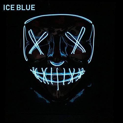 SUNFFFW Máscara De Halloween Máscaras De Purga Led Elección Disfraz De Máscara De Pestañas Fiesta De DJ Máscaras Iluminadas Película De Resplandor En La Oscuridad Cosplay Máscara De Día De Pago
