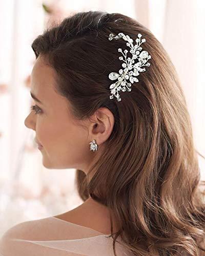 Unicra Braut Hochzeit Haarkamm Silber Kristall Kopfschmuck Strass Haarschmuck für Frauen und Mädchen