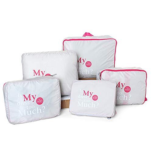 Beloved Juego de 5 organizadores de viaje para maleta – Neceser – Ahorra espacio – lavandería – equipaje de mano y carrito, gris, Talla única,