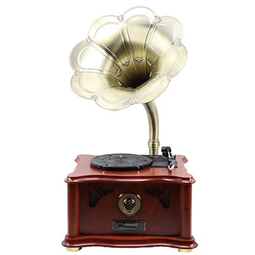record player Retro Wireless Bluetooth Speaker With Subwoofer,Vintage Phonograph Gramophone Shape,Aluminum Alloy Copper Housing
