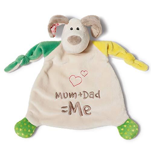NICI Schmusetuch Hund 'Mum+Dad=Me´ 25x25 cm – Hund Schnuffeltuch ab 0+ Monaten – Kuscheltuch für Babys & Kleinkinder – Baby Kuscheltier / Schnuffeltuch – Baby Schmusetuch für Mädchen & Jungen – 40037