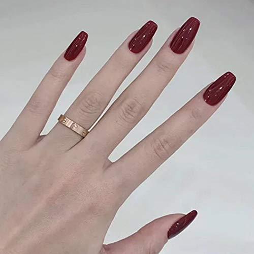 IYOU Sarg Falsche Nägel rot Glänzender Ballerina gefälschter Nagel Langer künstlicher Nagel mit voller Abdeckung Drücken Sie auf Nägel für Frauen und Mädchen (24 Stück)