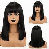 HAIRCUBE Pelucas cortas rectas naturales con flequillo para cabello Peluca negra Peluca sintética de hombro para mujer