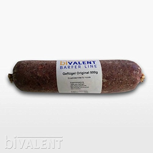 biVALENT Barfer Line Geflügel Original (fleischige Geflügelkarkassen) gewolft, 500g Barf   Geflügel   Frostfleisch   Hundefutter (1x500g)