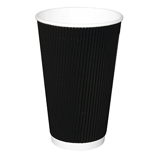 Fiesta CM542 Lot de 25 tassesà caféà emporter en kraft avec paroi ondulée Noir 473 ml