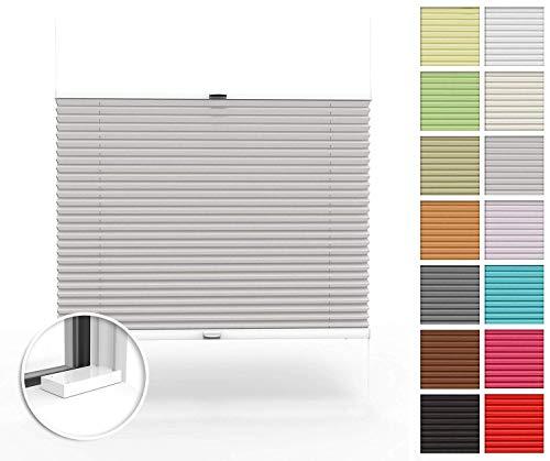 Home-Vision® Premium Plissee nach Maß, zum Anschrauben in der Glasleiste Innenrahmen Blickdicht Jalousie mit Halterungen zum Bohren, Verschiedene Profilfarben (Grau, B71-80cm x H151-200cm)