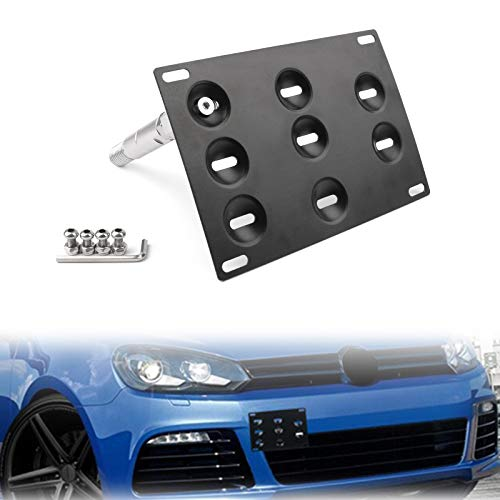 Artudatech Registration Plate Holder, Front Bumper Hooks Mounting Car Number Plate Metal Holder Licence Plate Holder for V W MK6 Golf