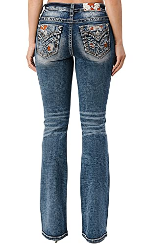 Miss Me Women's Medium Wash Cowhide Embroidered Pocket Mid Rise Bootcut Jeans Dark Blue 34W x 34L