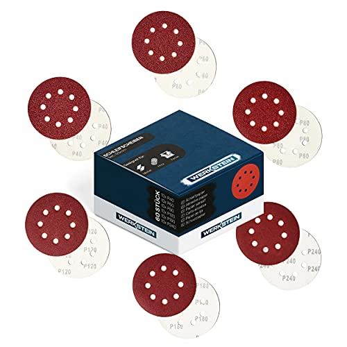 WERKSTEIN Pack de 60 Discos de Lija, 125 mm – Set de 10 x P40 / 60 / 80 / 120 / 180 / 240 - Disco de Lija para Amoladora – Disco para Lija Orbital Aleatoria, 8 Agujeros – Para Metal, Madera – NUEVO
