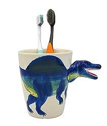 1. MONMOB 4.3″ Ceramic Spinosaurus Dinosaur Toothbrush Holder