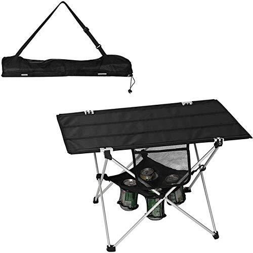 Table HDS Les porteurs et Sac de Transport Pliant Camping Ultraléger extérieur Plage Barbecue Pique-Nique de pêche avec la Coupe (Color : Black)