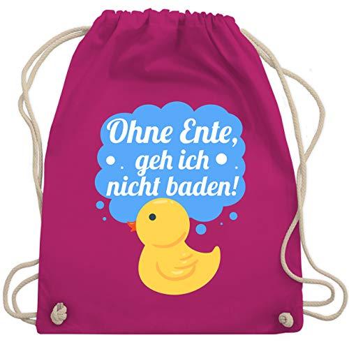 Shirtracer Sprüche Kind - Ohne Ente, geh ich nicht baden! - Unisize - Fuchsia - ente - WM110 - Turnbeutel und Stoffbeutel aus Baumwolle