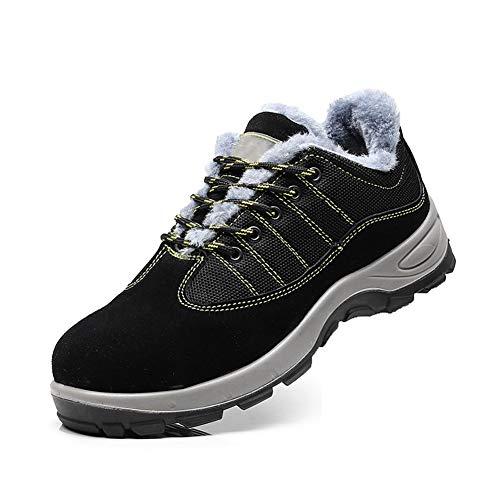 Anti-Smashing Sportschuh, Winter Warm Stahlkappe Anti-Stab-Site Arbeitsschuh Non-Slip im Freien wandernden Schuhen,Schwarz,41