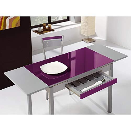 SHIITO Mesa de Cocina 90x50 cm Extensible con cubertero y Tapa en Cristal