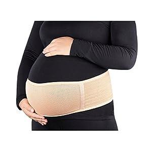 Tirain Schwangerschaftsgurt, atmungsaktive Schwangerschaftsbandage & Bauchstütze für Schwangere vor und nach der Geburt, eine Größe, Beige