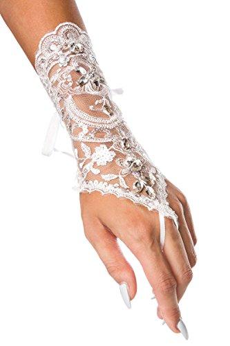 Unbekannt Brauthandschuhe fingerlos Braut Handschuhe Strass Steinchen Hochzeit Weiß Ivory (Ivory)