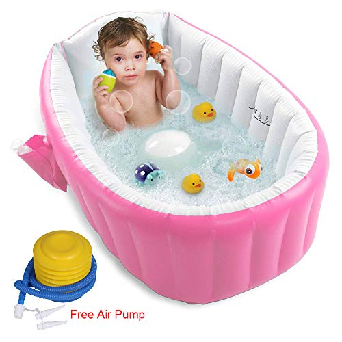 【Upgraded】Inflatable Baby Bathtub with Air Pump, FLYMEI Baby Bath Tub Toddler Bathtub, Foldable Shower Basin for Newborn, Portable Travel Bath Tub for Girl with Seat, Baby Shower Gift
