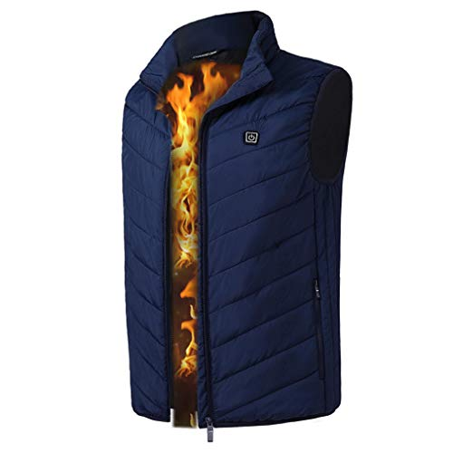 Dainzuy Women's Heated Vest Lightweight Battery Pack Washable USB Charging Heated Clothing for Riding Skiing Fishing Navy