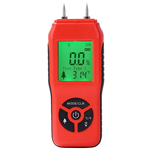 Feeilty Lcd-digitale houtvochtigheidsmeter, multiplex, hygrometer, handvochtigheidsmeter, detector voor brandhout, detectie van lekkage rood