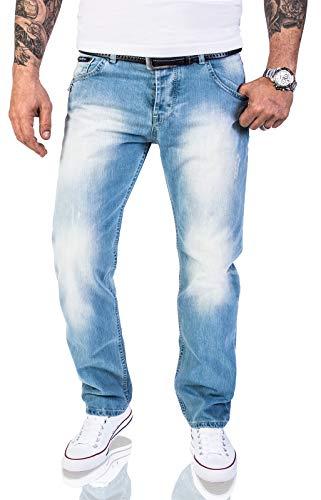 Rock Creek Herren Jeans Hose Regular Fit Jeans Herrenjeans Herrenhose Denim Stonewashed Basic Raw Straight Cut Jeans RC-2141 Hellblau W38 L32