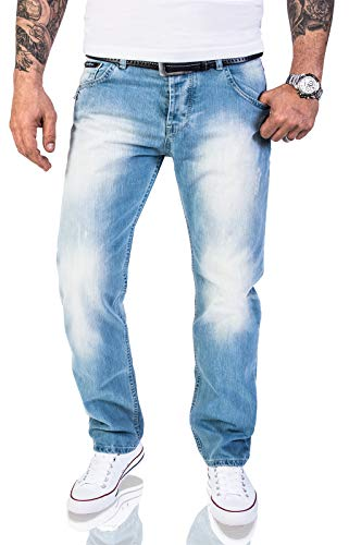 Rock Creek Herren Jeans Hose Regular Fit Jeans Herrenjeans Herrenhose Denim Stonewashed Basic Raw Straight Cut Jeans RC-2141 Hellblau W38 L34