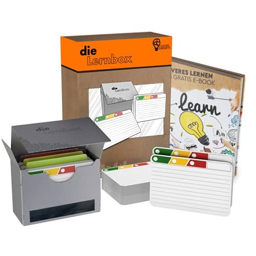 Clever Gadgets Die Lernbox   300 Karteikarten mit cleverem 3-Stufen-Lernsystem & robuster Karteikarten-Box   ideales Format zwischen A7 & A8   190g   beidseitig liniert   abgerundete Ecken