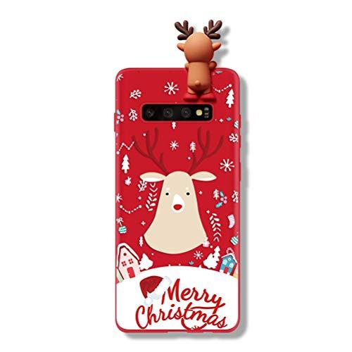 Yoedge für Samsung Galaxy S8 Hülle, 3D Karikatur Puppe Rot Silikon TPU Weihnachten Schutzhülle [Slim Stoßfest] Cartoon Muster Motiv Handyhülle Case Cover für Samsung Galaxy S8, Hirsch 2
