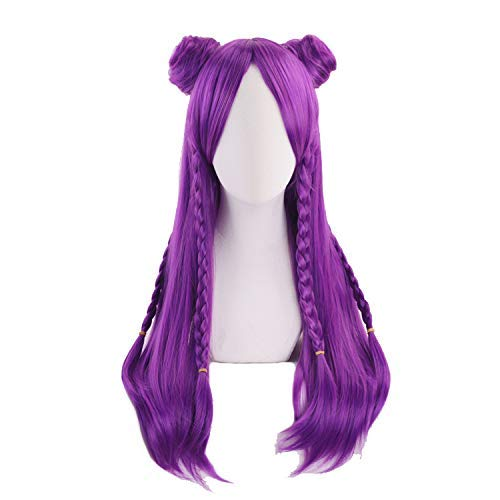 Ani·Lnc wig Game Character Cosplay Wigs 70cm Long Purple Heat Resistant Synthetic Hair Perucas Cosplay Wig