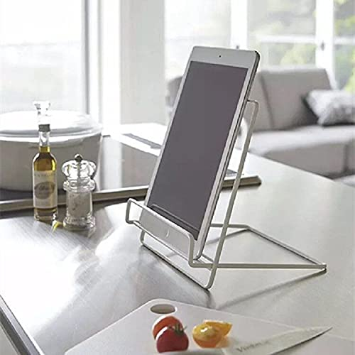 yonghe Soporte plegable para libro de recetas, estantería de lectura con marco de madera, soporte para tablet (color: blanco)