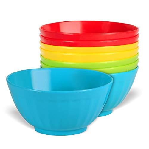 Plaskidy Plastic Bowls Set of 8 - 28 Ounce Children Plastic Cereal Bowls Microwave Dishwasher Safe Plastic Soup Bowls - BPA Free Kids Bowls 4 Bright Colors (2 of Each Color)