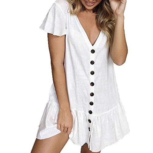 Lialbert V-Ausschnitt Strandkleid Swing-Kleid ÄRmeln RüSchen Skaterkleid Minikleid Sommerkleid Schwingendes Frauen Rock Tunika A-Linie Cocktail Party Weiß