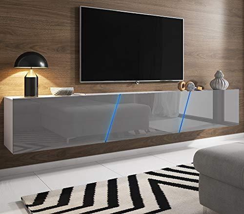 Space TV-Unterteil hängend oder stehend | Lowboard inkl. RGB Beleuchtung 240 x 35 cm (Hochglanz grau/matt weiß)