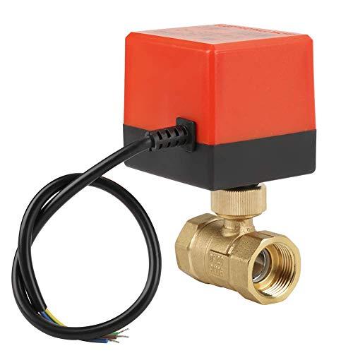 OGUAN Válvula eléctrica, G3 / 4' DN20 Brass 2 Camino de Bola Válvula motorizada eléctrica for el Control de Flujo de la CA 12V Grifo de Ducha termostática,