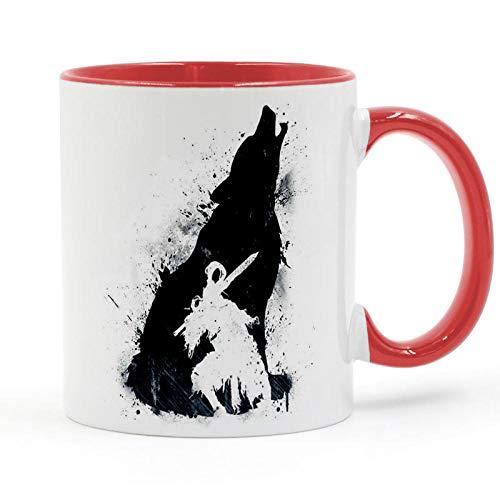 HHGHF Ritter Artorias Dark Souls Wolf Samurai Schatten Kaffeetasse Keramik Tasse Geschenke 11Oz-Rot