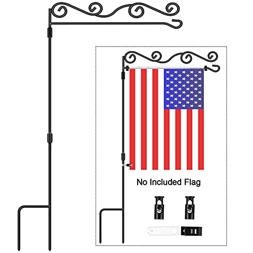 Garden Flag Stand - Floral Style, BONWIN Garden Yard Flag Pole Holder Stands, Powder Coated Weather-Proof Paint Flagpole with Spring Stopper & Anti-Wind Clip for Garden Lawn - 36.34'Hx16.02'W (1 PACK)